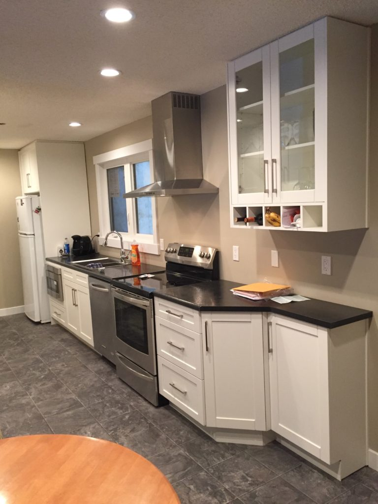 renovated basement kitchen